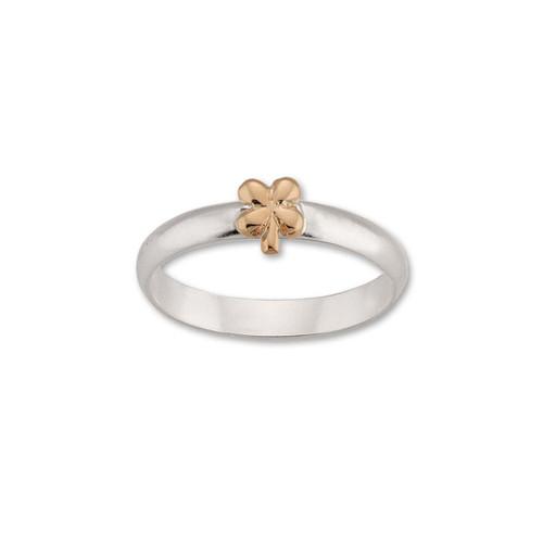 Sterling & 14kt Gold Talisman Clover Ring symbol Flower