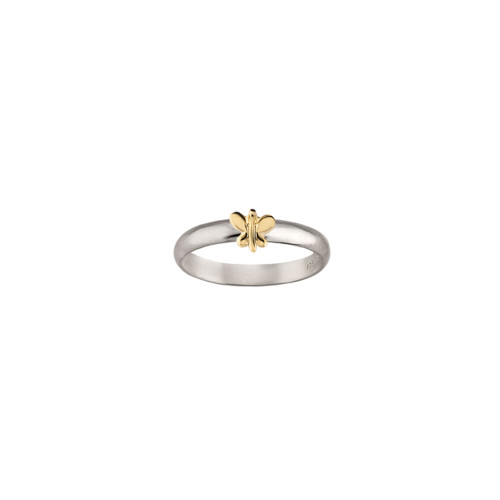 Sterling Silver & 14kt Gold Talisman Butterfly Ring with Sterling Band
