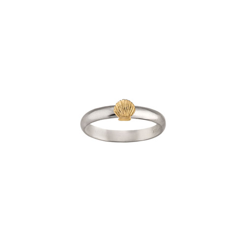 Sterling Silver & 14kt Gold Talisman Shell Ring on a Silver Band
