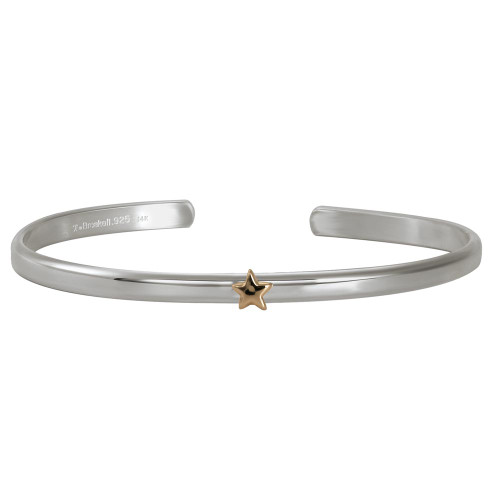 Sterling & 14kt Gold Talisman Star Cuff bracelet