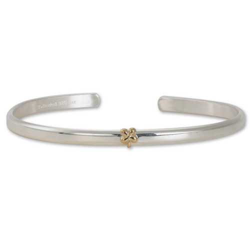 Sterling & 14kt Gold Talisman Clover Cuff Bracelet