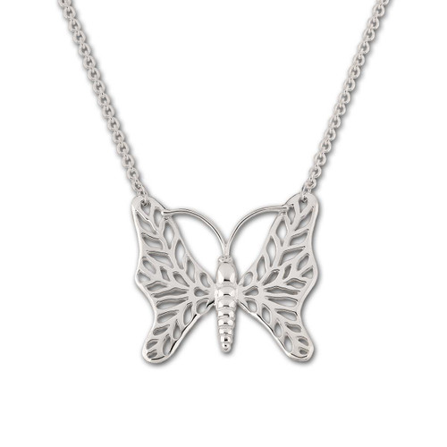 Sterling Silver Butterfly Necklace & Round Cable Chain