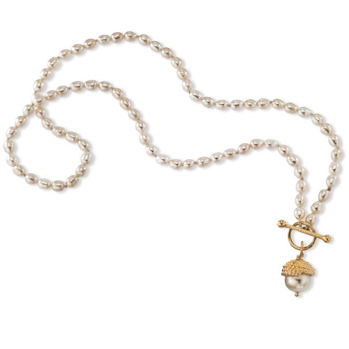14kt Enduring Grace Necklace with freshwater Oval Pearl