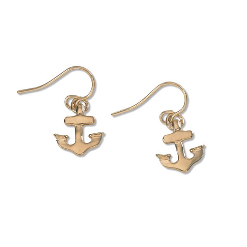 14kt Gold Petite Anchor Earrings on Earwires