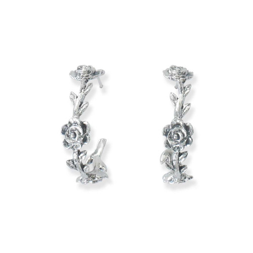 Sterling Silver Rose Vine Hoop Earrings with Anitque Finish