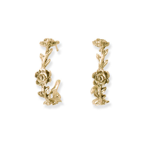 Handmade 14kt Gold Rose Vine Hoop Earrings