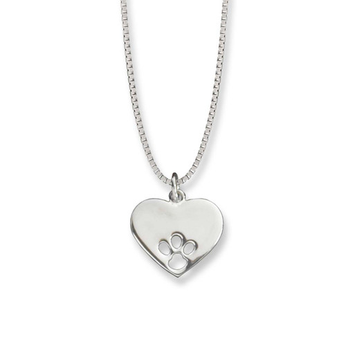 Paw Print Heart Sterling Silver Pendant