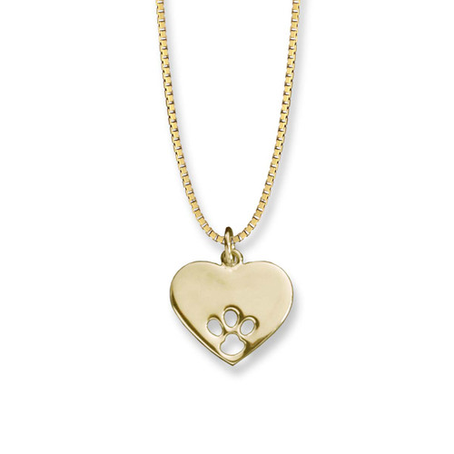 Beautiful 14kt Paw Print Heart Pendant
