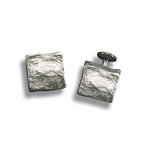 Sterling Silver Molten Cube Cuff Links