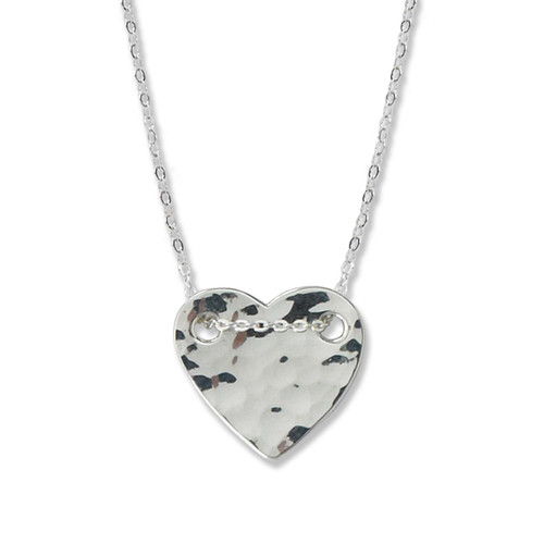 Hammered Heart Necklace Sterling Silver