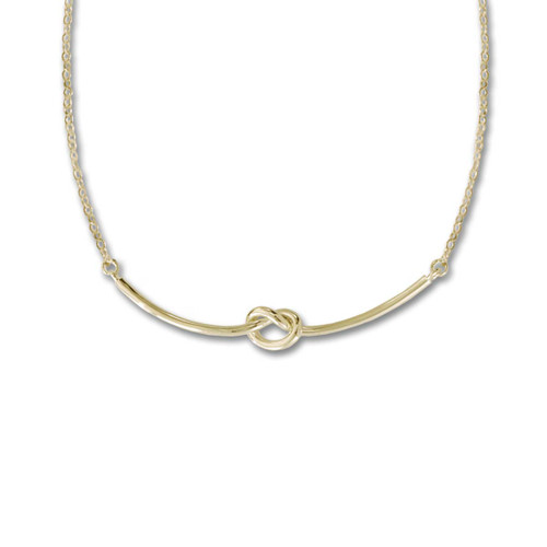 14kt Gold Love Knot Necklace with Lobster Claw Closure