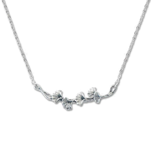 Sterling Silver Ginkgo Necklace Symbol of Resilience & Hope