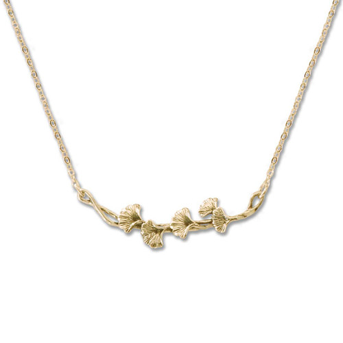 14kt Gold Ginkgo Necklace Symbol of Resilience & Hope