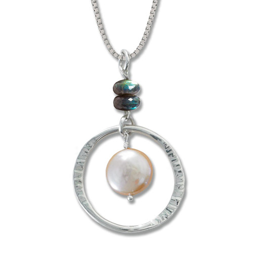 Sterling Silver Peach Coin Pearl and Labradorite Pendant