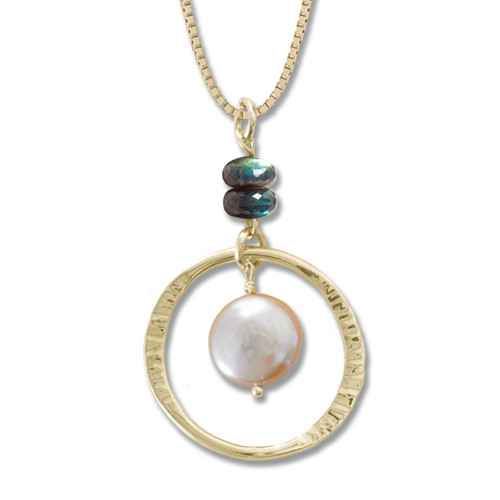 Peach 14kt Gold Coin Pearl and Labradorite Pendant