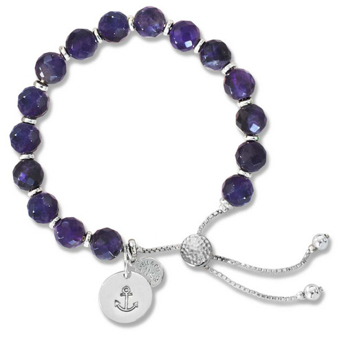 Sterling Silver Color Me Strong Amethyst Lariat Bracelet