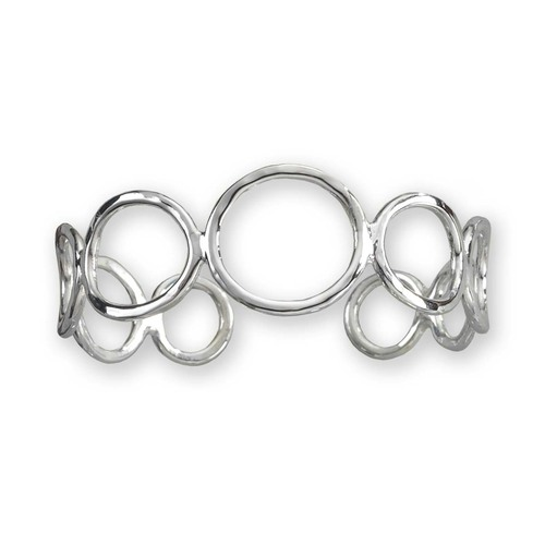 Sterling Silver Circles Cuff Bracelet