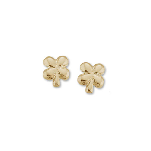 14kt Gold Clover Talisman Earrings symbol of Good Luck & Fortune