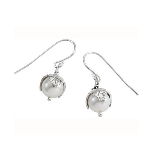 Sterling Silver Pearl Bud Earrings with freshwater Leaf