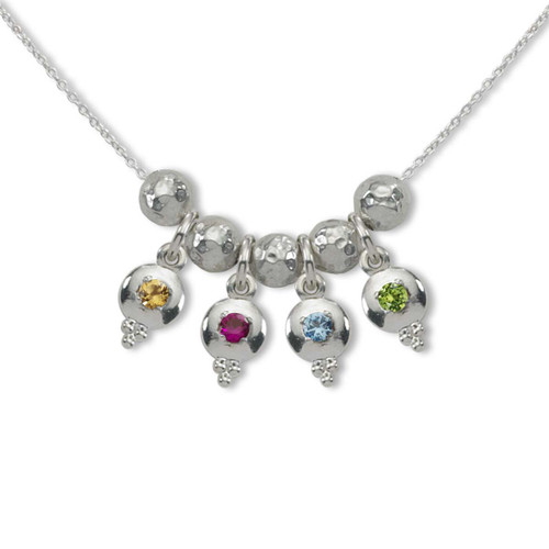 Sterling Silver Story of Us 4 Birthstone Necklace