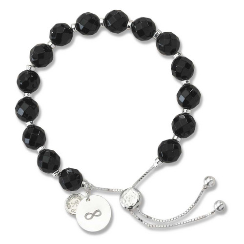 Sterling Silver Color Me Devoted Black Onyx Lariat Bracelet
