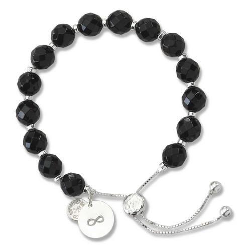 Sterling Silver Color Me Devoted Black Onyx Lariat Bracelet