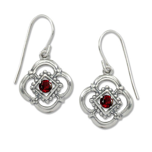 Sterling Silver Verona Genuine Garnet Earrings