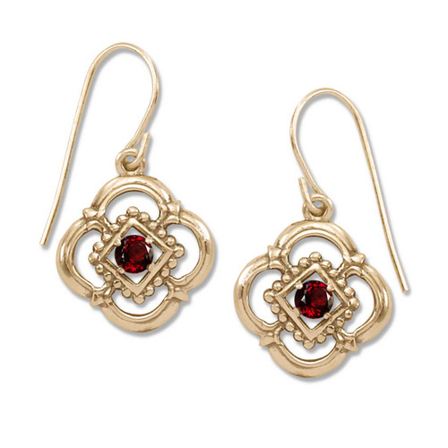14kt Gold Verona Genuine Garnet Hoop Earrings