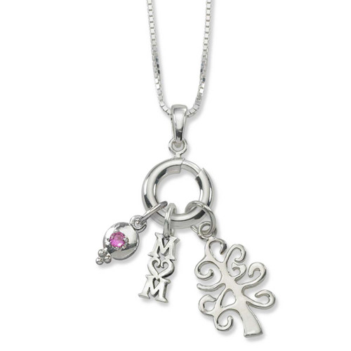 Sterling Silver Ringlet Charm Holder Necklace