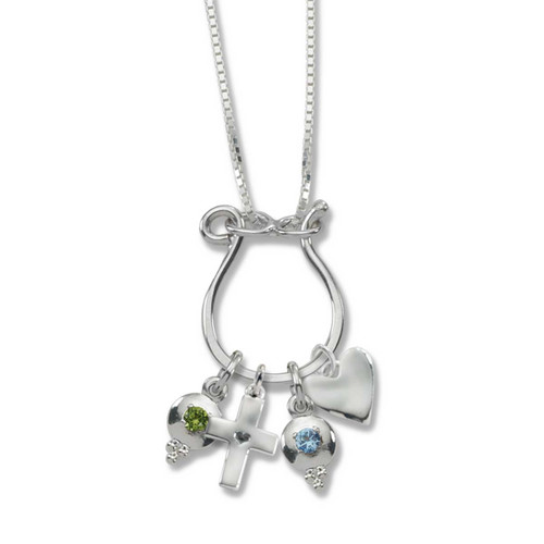 Sterling Silver Hand Forged Charm Holder Necklace