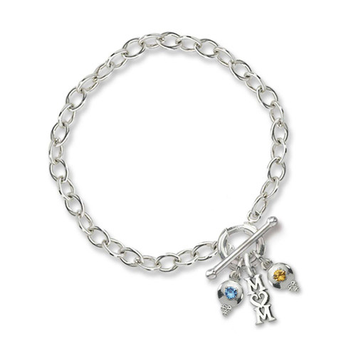 Sterling Silver Toggle Ring Spring Charm Holder Bracelet