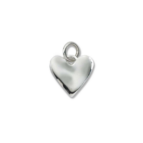 Sterling Silver Little Wavy Heart Charm Pendant