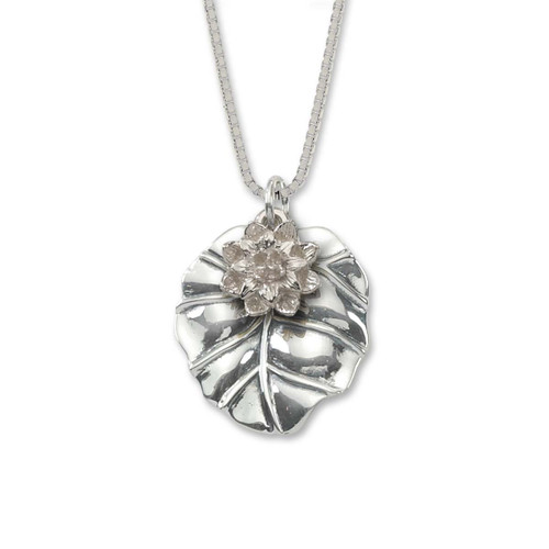 Polished Sterling Silver Waterlily Pendant