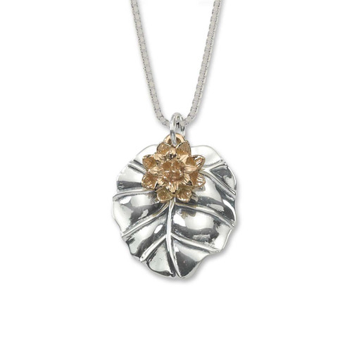 Sterling Silver and 14kt Gold Water Lily Pendant