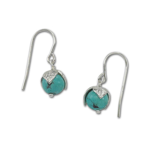 Beautiful Sterling Silver Turquoise Bud Earrings
