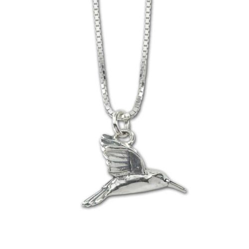 Delightful Sterling Silver Hummingbird Pendant