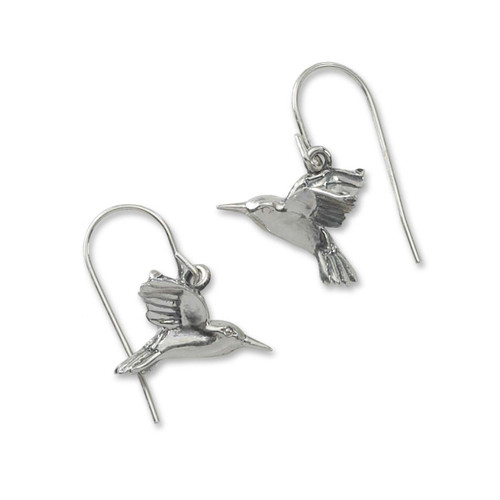 Sterling Silver Hummingbird Hoop Earrings