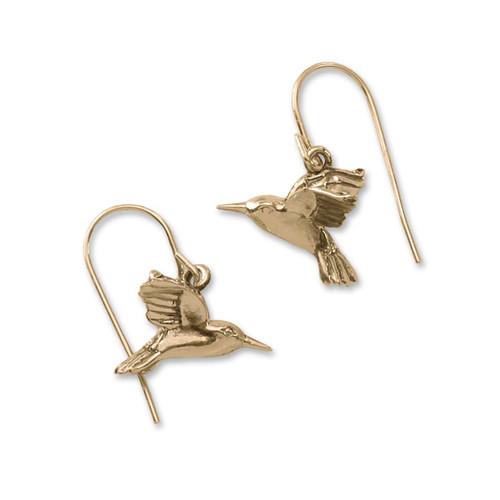 14kt Gold Hummingbird Hoop Earrings