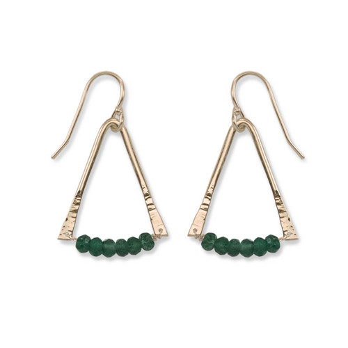 14kt Gold Trilogy Green Aventurine Gemstone Earrings