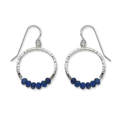 Sterling Silver Full Circle Lapis Blue Gemstone Earrings