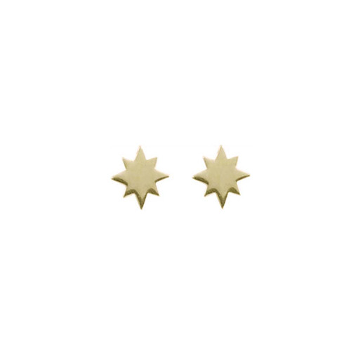 """14kt Gold North Star Stud Earrings Symbolize """"True North"""""""