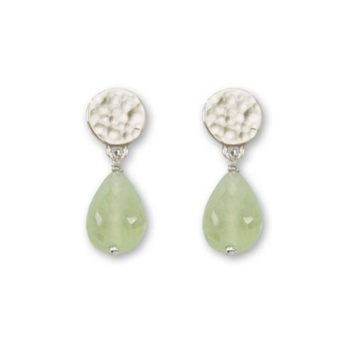 Sterling Silver Dew Drop Genuine Prehnite Earrings