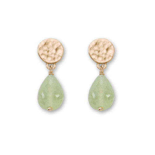 14kt Gold Dew Drop Genuine Prehnite Earrings
