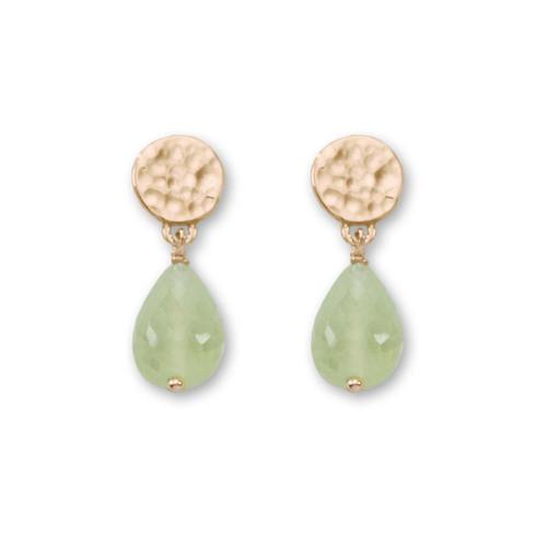 14kt Gold Dew Drop Genuine Prehnite Earrings