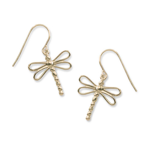 14kt Gold Dragonfly Earrings Symbol For Change & light