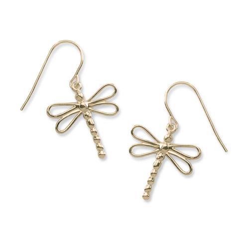 14kt Gold Dragonfly Earrings Symbol For Change & light