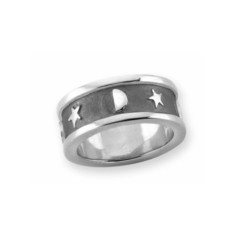 Sterling Silver Lunar Ring Represent Moon & Star