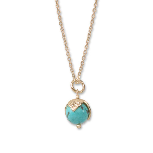 14kt Gold Turquoise Bud Pendant