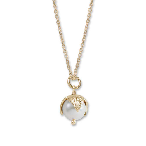 Perfect 14kt Pearl Bud Pendant with Freshwater