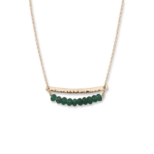 14kt Gold Side by Side Green Aventurine Gemstone Necklace